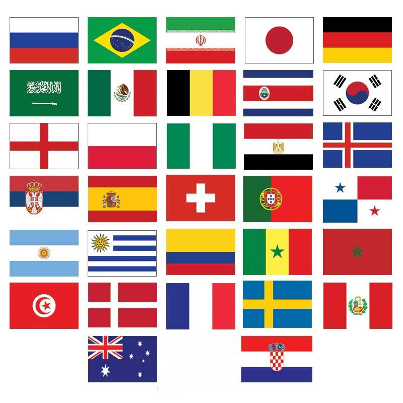 Russia 2018 32 Country Flags