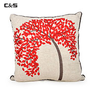 Tree Embroidery Pillow, Red