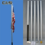 20'L Alu Flagpole set with 3ft x 5ft flag
