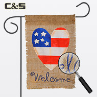 Welcome Burlap Garden Flag
